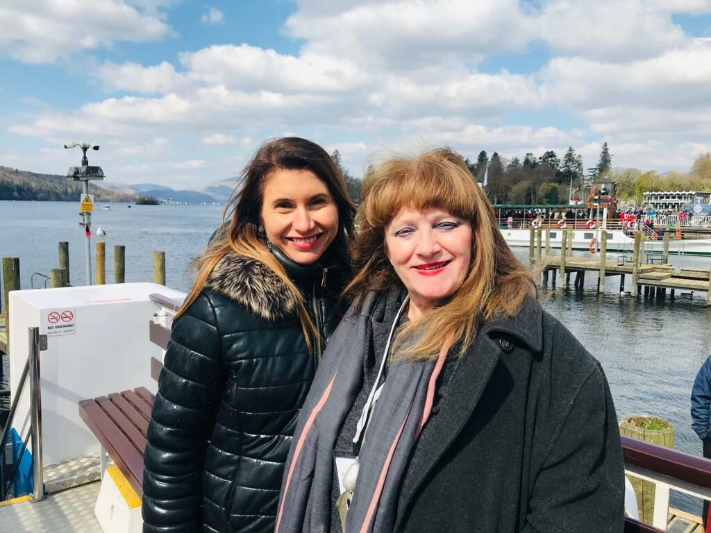 Enjoying a cruise of Lake Windermere with my agent, Annette
